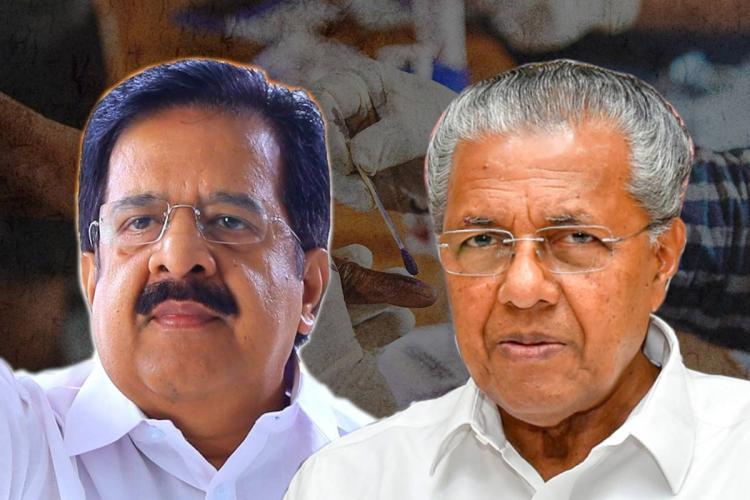A collage of Congress leader in Kerala Ramesh Chennithala and Kerala Chief Minister Pinarayi Vijayan