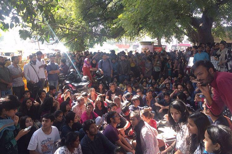 Protests against ABVP police after Ramjas College violence