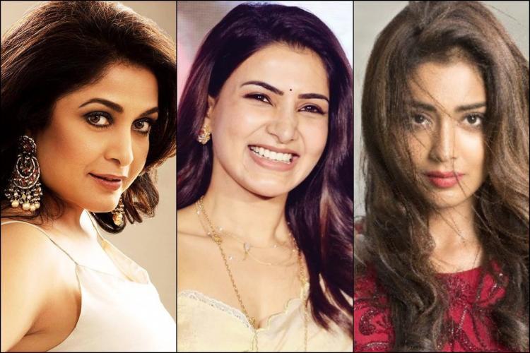 Collage of Ramya Krishnan, Samantha Akkineni and Shriya Saran