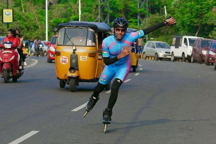 A Vizag man skates 200 km in a day to spread message of fitness