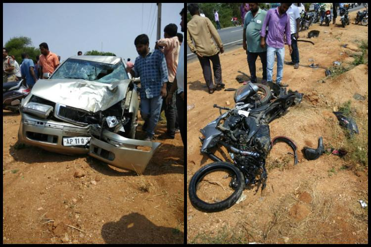 Two dead after overspeeding biker crashes into car in Telangana