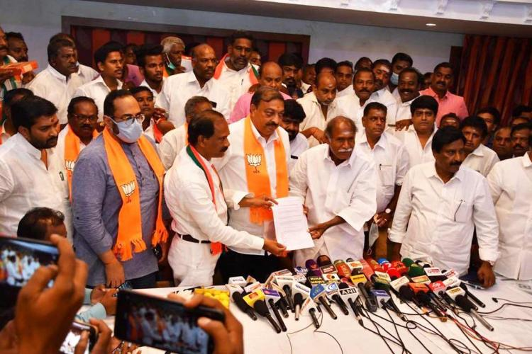 Leaders from NR Congress BJP and AIADMK in Puducherry at a media conference after finalising their seat-sharing arrangement