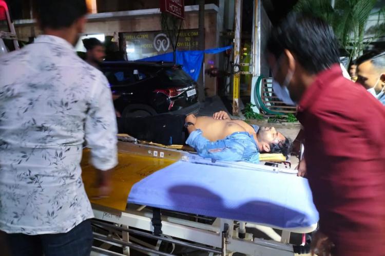Sai Dharam Tej being taken on a stretcher