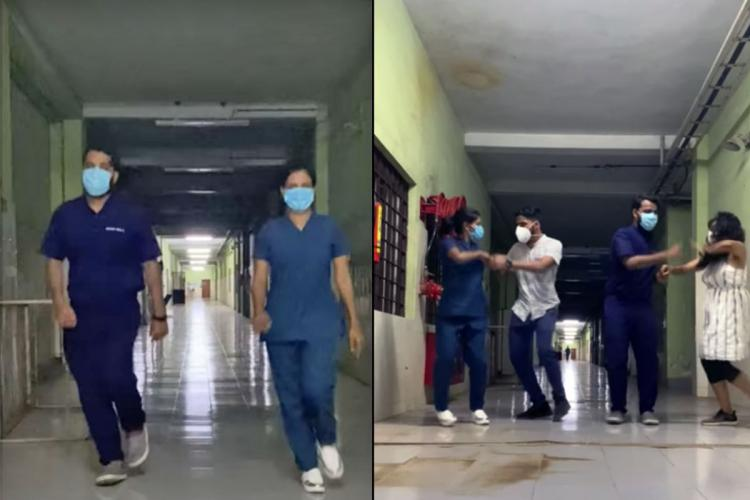 A collage of screenshots from a video of Kerala medical students dancing to the viral Rasputin dance video The medicos are seen in blue scrubs and wearing masks while dancing