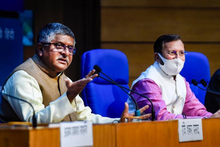 Ministers Ravi Shankar Prasad and Prakash Javadekar holding a press conference announcing the new IT rules