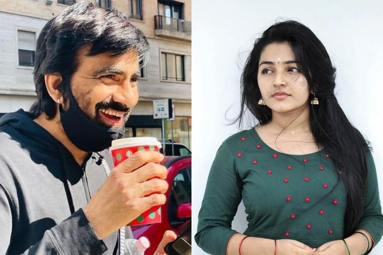 Actor Ravi Teja on the left and Rajisha Vijayan on the right.