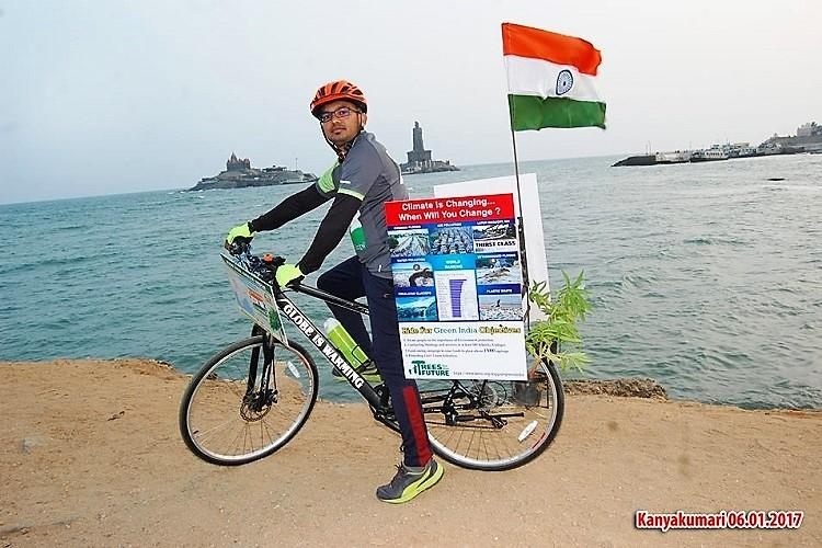 This Hyderabad techie is cycling from Kanyakumari to Kashmir to push for a greener future