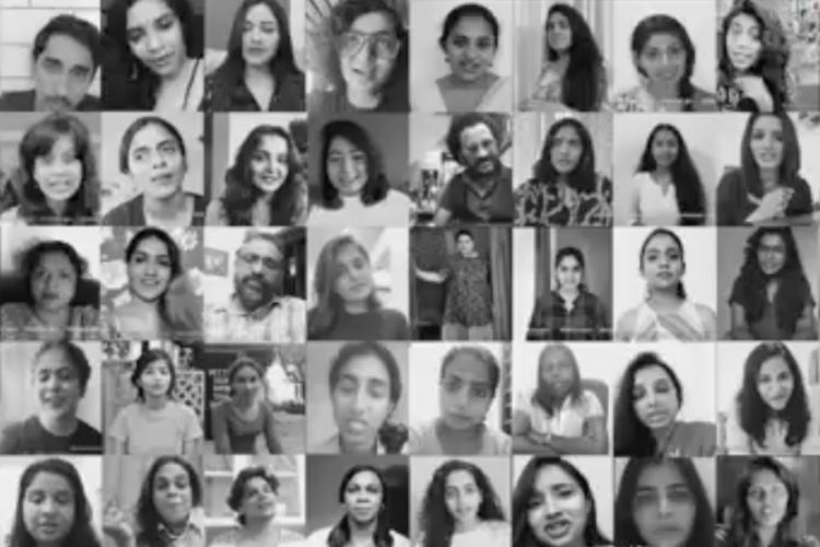A black and white collage of many people who made videos against cyber abuse