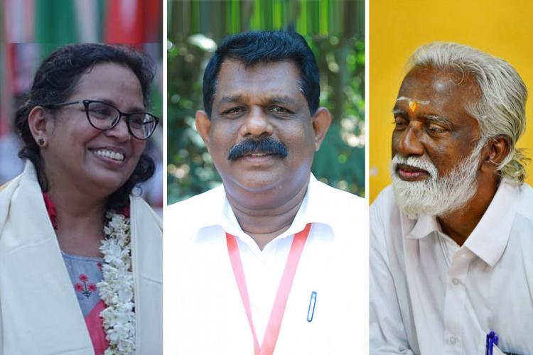 A collage of KK Rema Kummanam Rajasekharan and Antony Raju