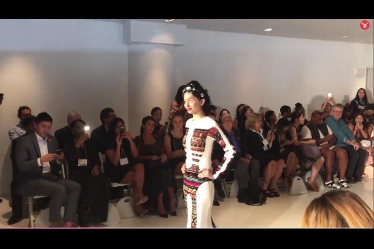 TakeBeautyBack Acid attack survivor Reshma Qureshi walks the ramp at New York Fashion Week