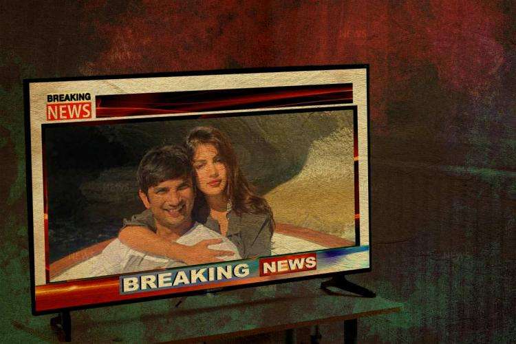 An image of Sushant Singh Rajput and Rhea Chakraborty with each other on a TV screen which says breaking news