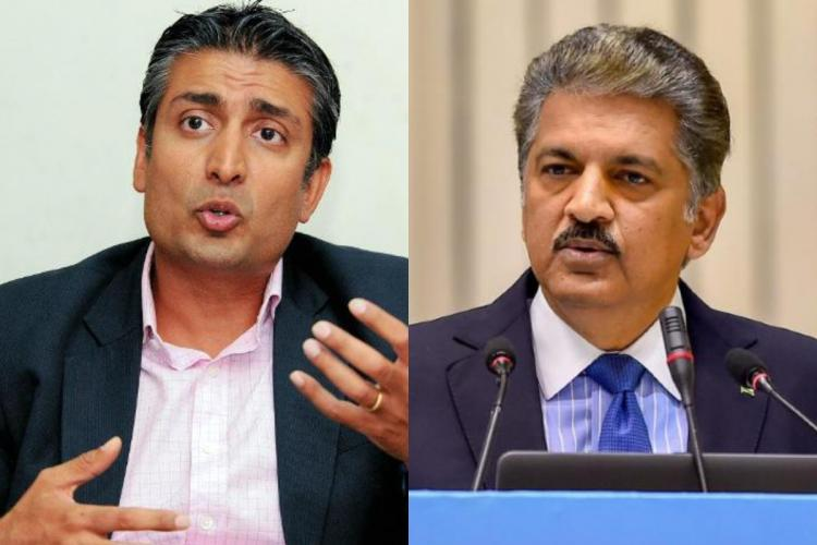 Collage of Rishad Premji and Anand Mahindra, both speaking at events