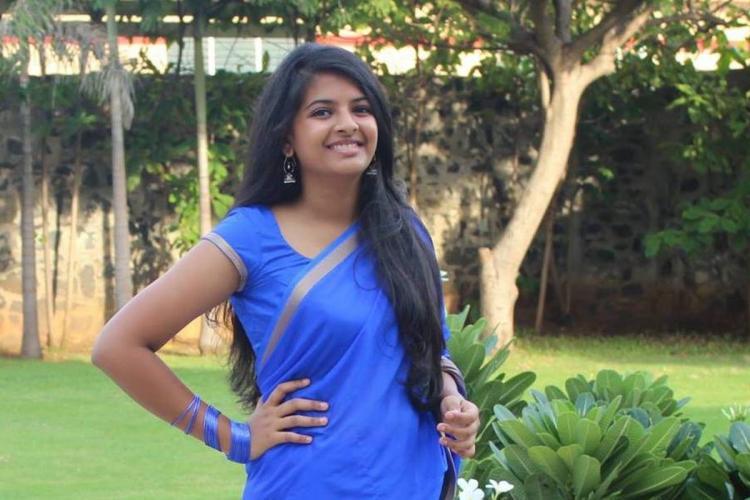 Riya Gupta in a blue saree