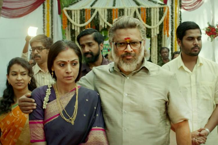 Simran and Madhavan are seen together and appear elderly and sad in one of the scenes from the trailer of Rocketry The Nambi Effect