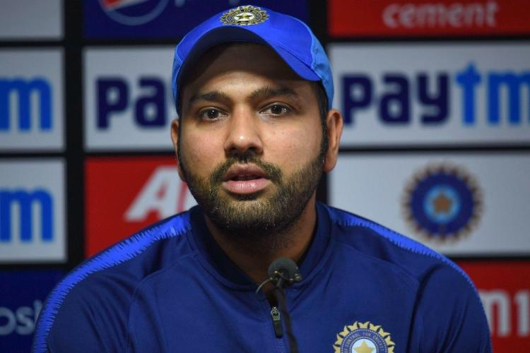 Rohit Sharma talking to the media before a match