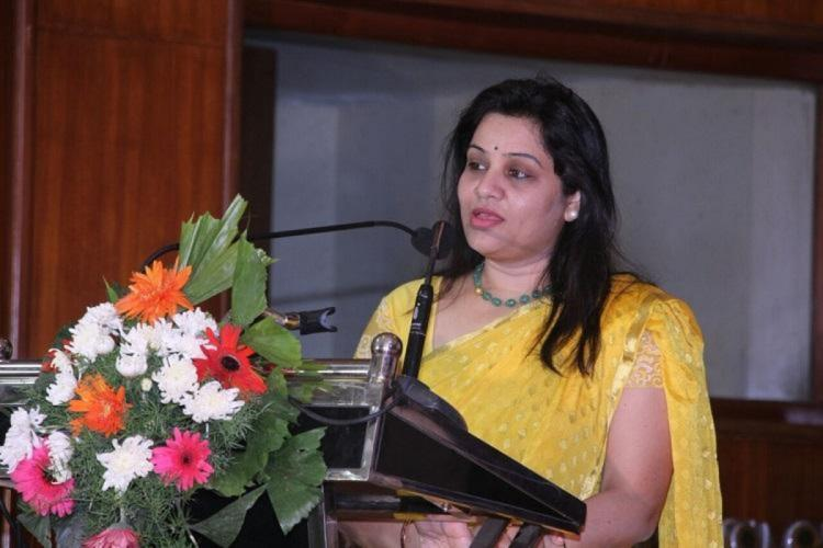 D Roopa IPS speaking at an event