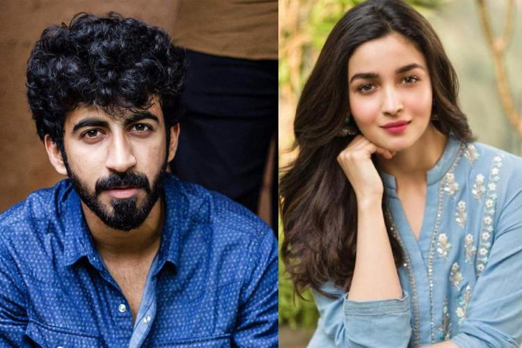 Roshan in a royal blue shirt and Alia in a light blue top with her hair let lose on two sides of a collage