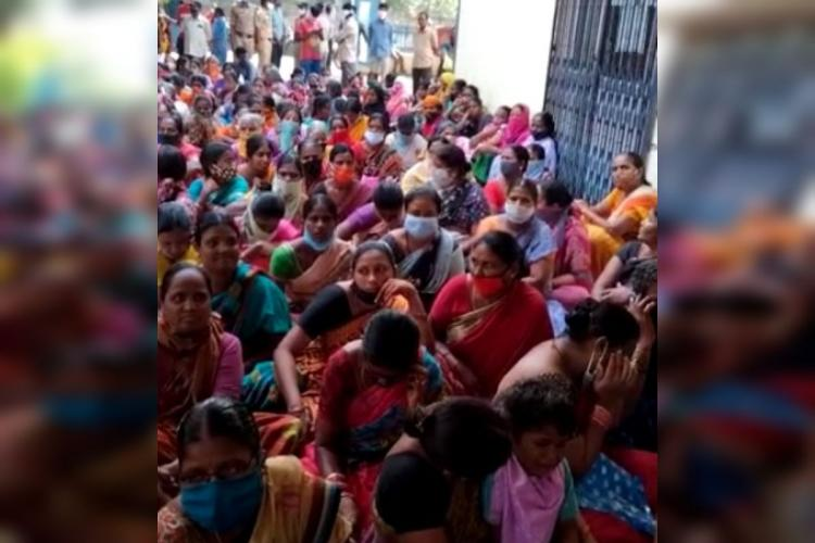 Women protest before Uppal municipal office as Telangana government stops Rs 10000 flood relief cash aid