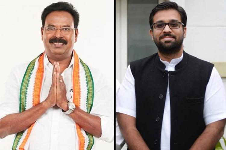 Congress candidates for TN Assembly elections Ruby Manoharan on the left and Mohan Kumaramangalam on the right
