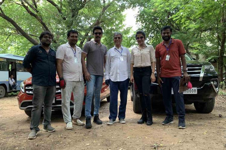 SA Chandrasekar Sakshi Agarwal and Samuthirakani in new film puja