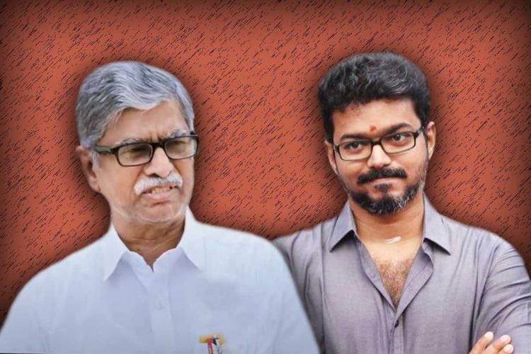 SA Chandrasekar and his son actor Vijay stylised image
