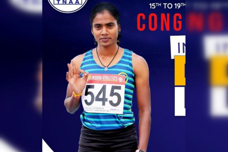 S Dhanalakshmi posing after her win in the Federation Cup National Senior Athletics Championships She shows the OK hand gesture