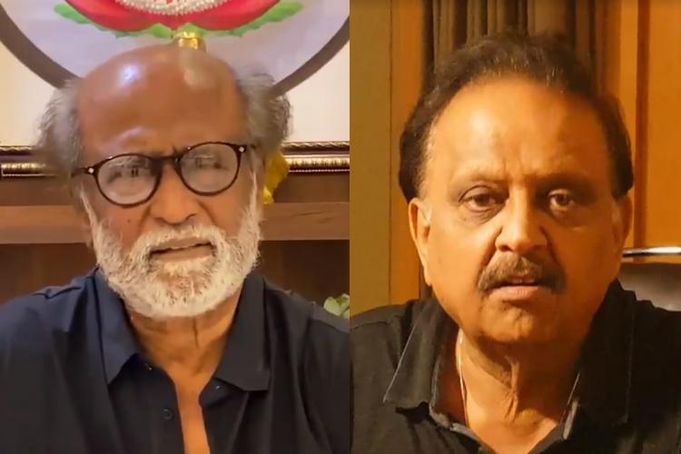 Collage of actor Rajinikanth and singer SPB