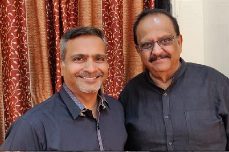 SP Balasubrahmanyam and his son SP Charan poses for the camera