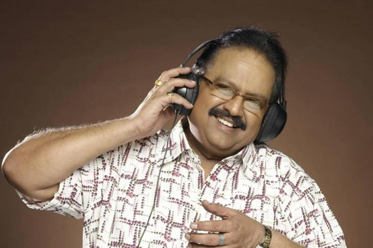 SPB or SP Balasubrahmanyam singing and smiling