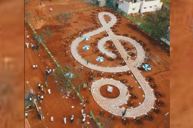 SPB Vanam in the shape of treble clef with 74 saplings was inaugurated by Siruthuli NGO in Coimbatore
