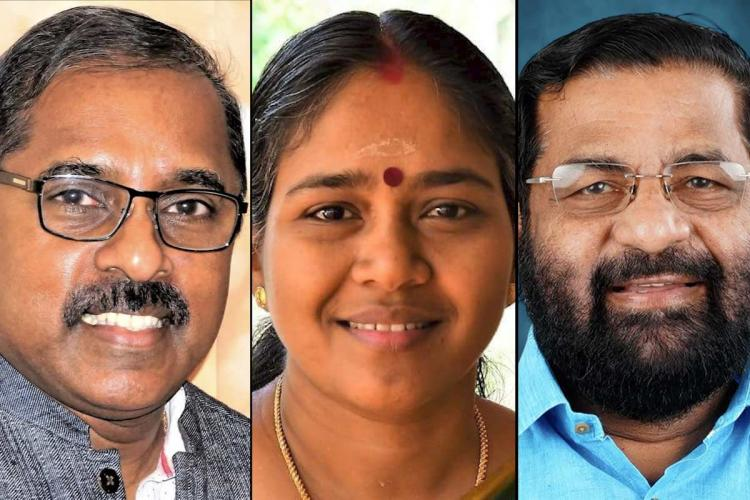 Collage of SS Lal in specs Sobha Surendran and Kadakampally all three smiling Close ups of their faces are seen