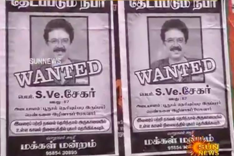 Why no arrest TN rights group puts up Wanted posters of S Ve Shekher