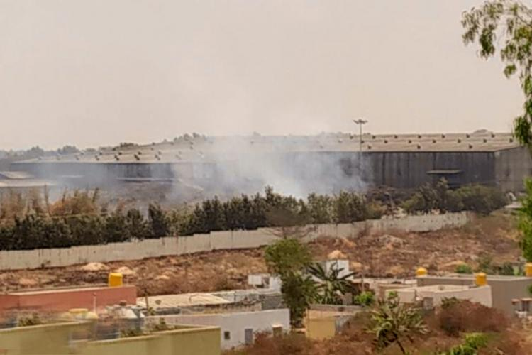 Smoke from the fire at the solid waste management plant in Chikkanagamangala Bengaluru seen from a distance