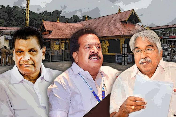 A stylised image of Congress leaders in Kerala Thiruvanchoor Radhakrishnan Ramesh Chennithala and Oommen Chandy with Sabarimala temple in the background