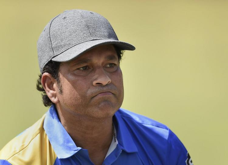 Former Indian batsman Sachin Tendulkar during a practice session ahead of Road Safety World Series tournament, at CCI in Mumbai, on March 6, 2020. He is wearing a cap and blue t-shirt, with a frown on his face.