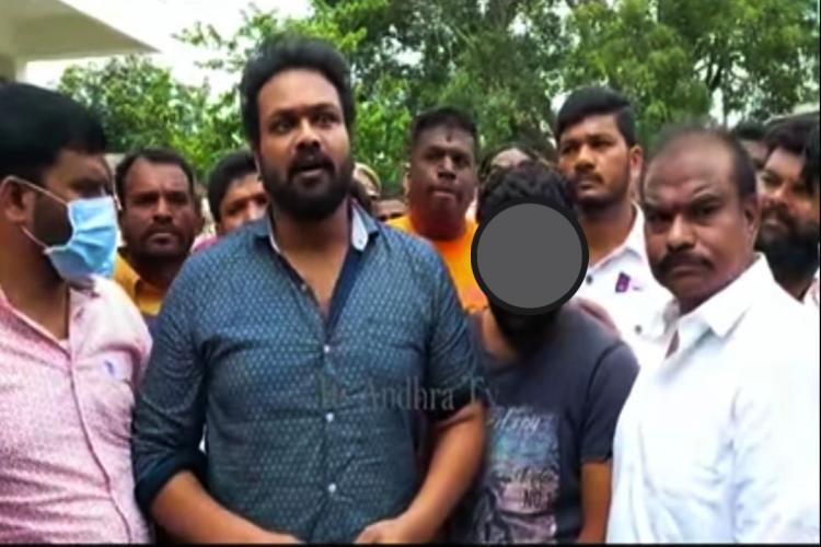 Actor Manchu Manoj with father of the victim