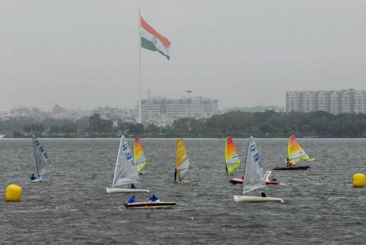 Sailing participants at a competition in Hyderabad