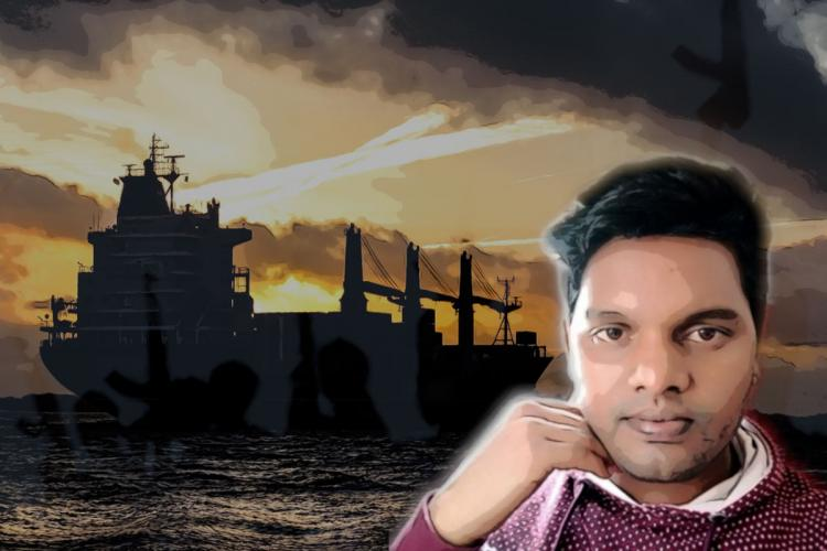 Shankar in the foreground with a ship in the sea and pirates holding guns in the background