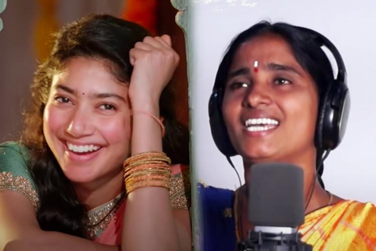 Actor Sai Pallavi in the song Saranga Dariya on the left and singer Komala on the right