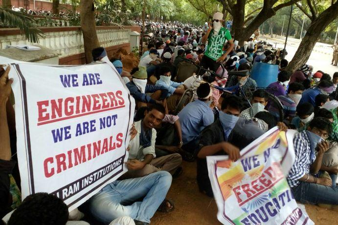 We are engineers not criminals say students protesting against bizarre rules in Chennai college