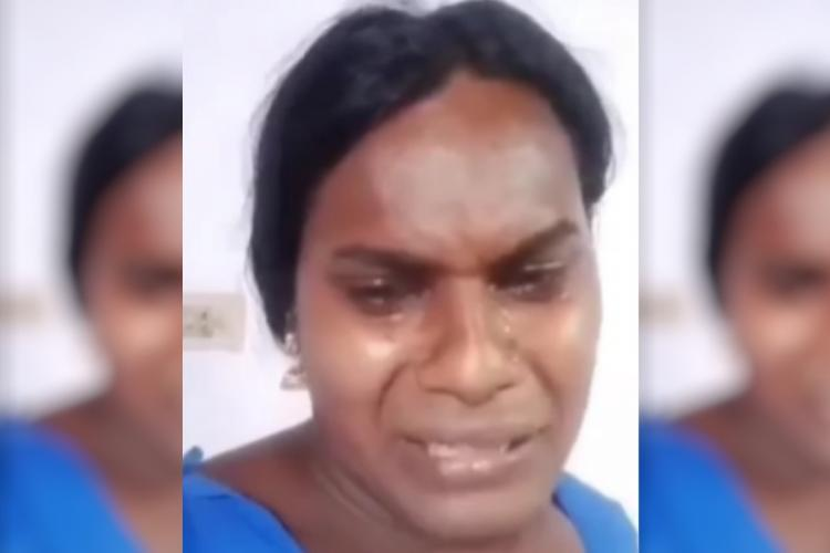 Trans woman Sajana Shaji crying in a live video