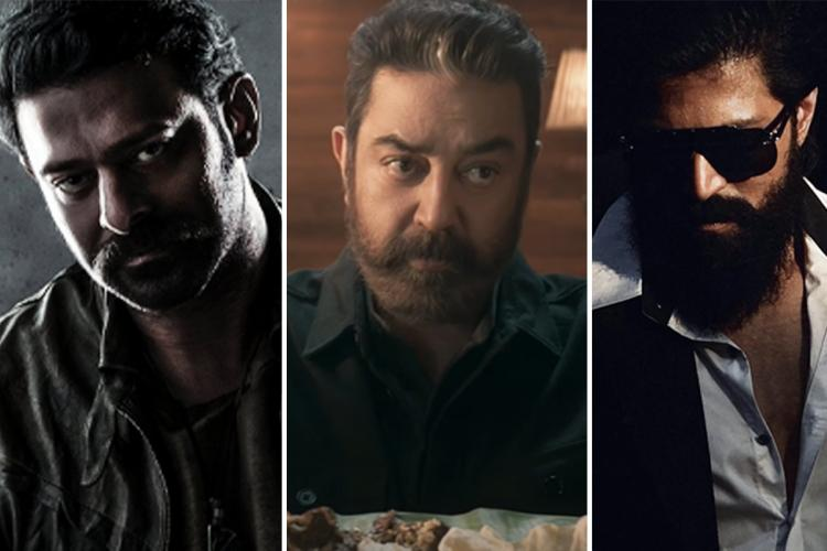Collage of Prabhas from Salaar, Kamal Haasan from Vikram and Yash from KGF 2