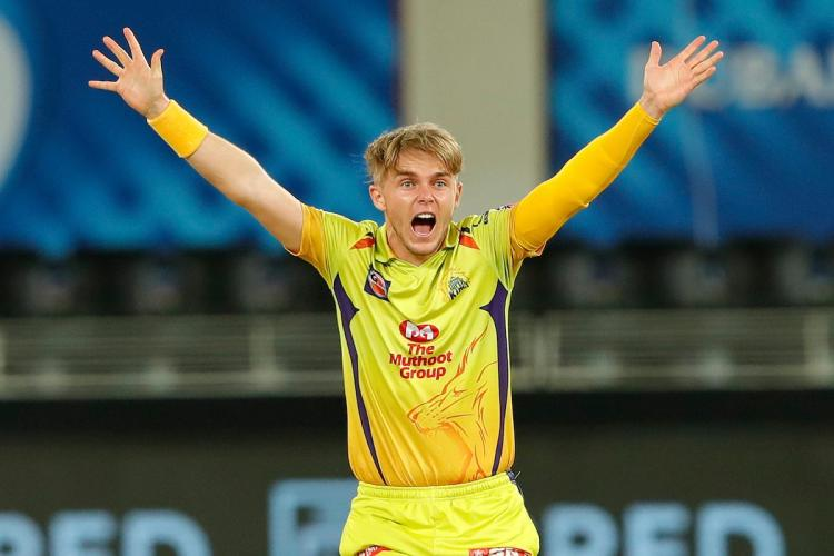 Sam Curran appealing for wicket in IPL 2020 for CSK