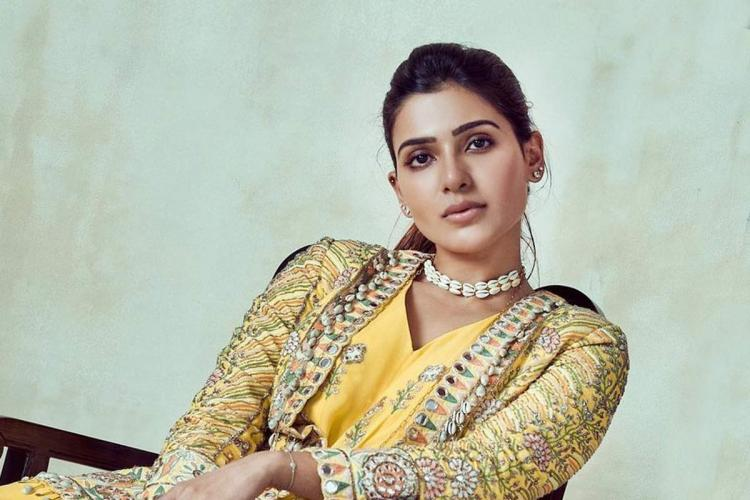 Actor Samantha in a yellow dress