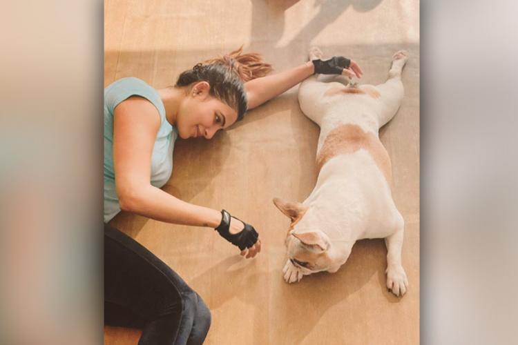 Actor Samantha lying down next to her dog Hash Akkineni