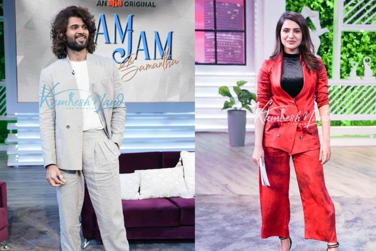 Samantha and Vijayadevarakonda can be seen in stylish costumes Vijay in ash coloured suit and Samantha in red coloured pant suit