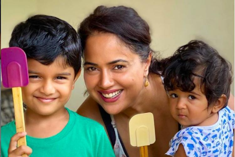 Sameera Reddy with her kids Hans and Nyra
