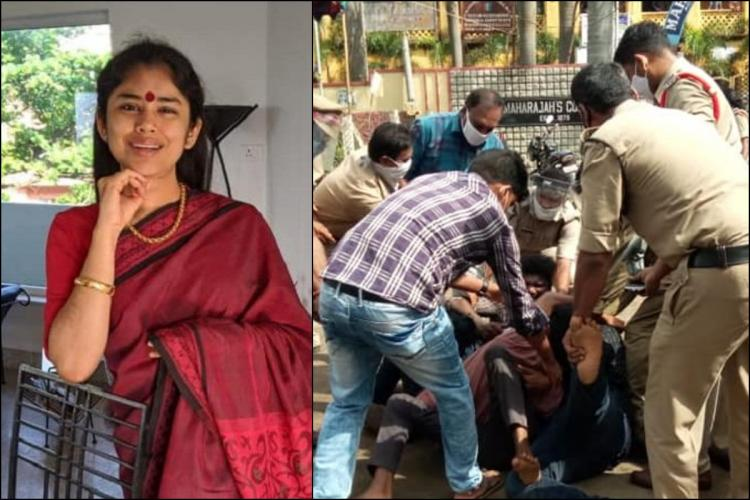 Collage of Sanchaita Gajapati Raju on left in a red saree, and SFI members protesting MR College privatisation on the right
