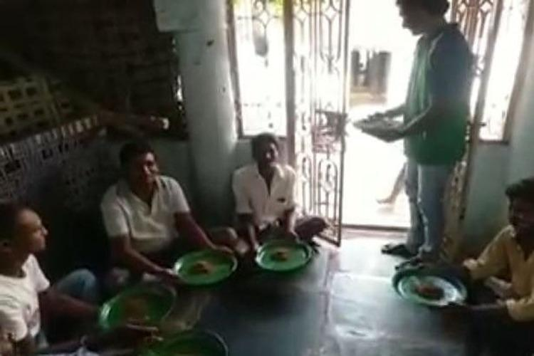 Watch Unemployed Andhra construction worker serves rare delicacy to guests