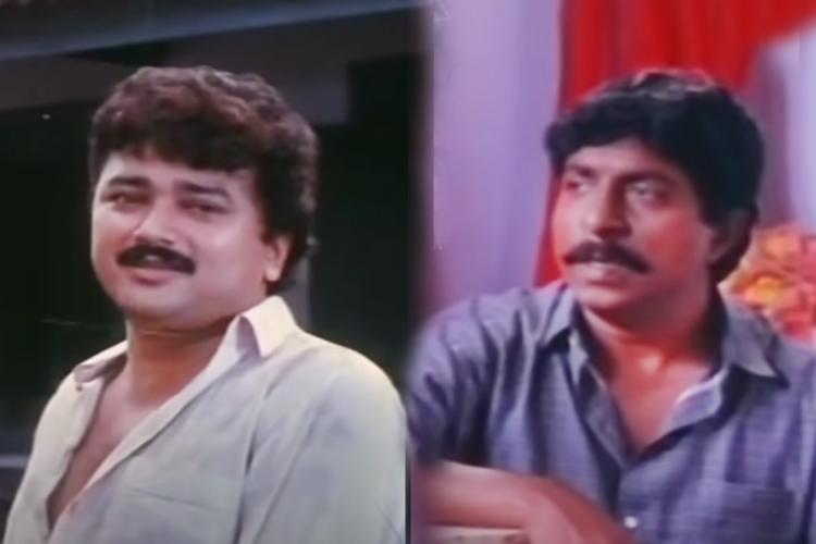 Collage of Jayaram in white shirt and Sreenivasan in blue shirt in Sandesham